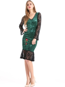 Ericdress Mermaid Lace Embroidery Sheath Dress