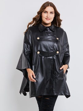 Ericdress Plus-Size Lapel Batwing Sleeve PU Jacket