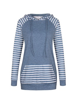 Ericdress Slim Stripe Patchwork Sweatshirt