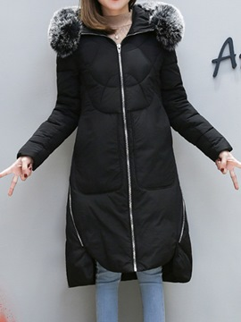 Ericdress Plain Long Zipper Hooded Coat