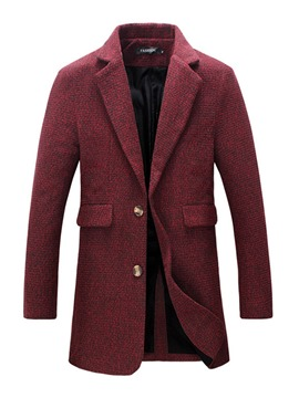 Ericdress Plain Button Mid-Length Men's Woolen Coat