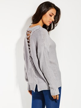 Ericdress Round Neck Backless Lace-Up Women's Sweater