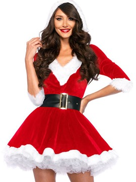 Ericdress Chrismas V-Neck Above Knee A Line Dress