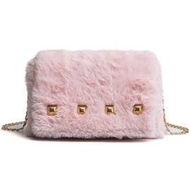 Ericdress Rivet Decoration Plush Chain Crossbody Bag