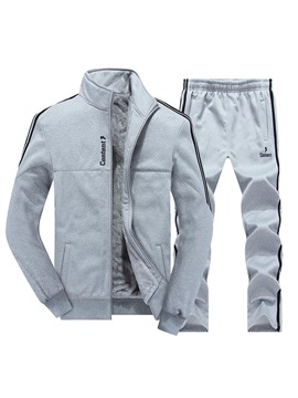 Ericdress Plain Fleece Lined Men's Sport Suit