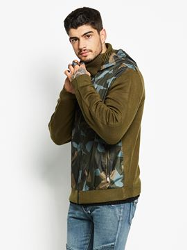 Ericdress Camouflage Patched Zip Casual Men's Hoodie