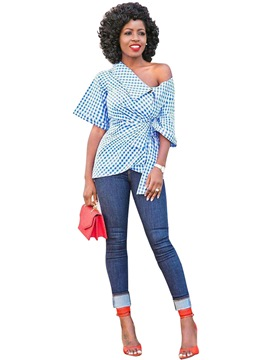 Ericdress Oblique Collar Plaid Polka Dot Blouse