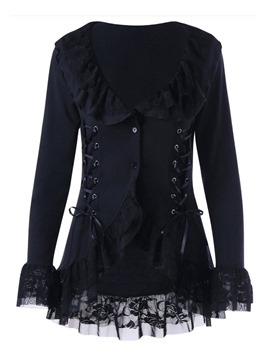 Ericdress Ruffled Collar Lace Mid-Length Jacket