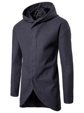 Ericdress Hooded Solid Color Men's Wool Coat