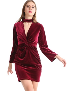 ericdress gefaltetes langes langes bodycon Kleid