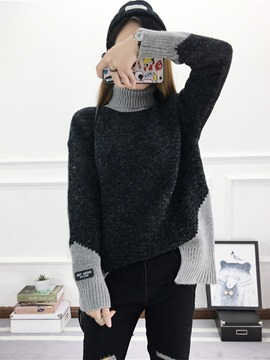 Ericdress High Neck Color Block Sweater