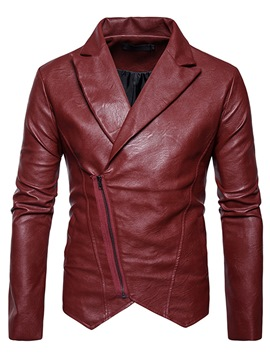 Ericdress Notched Lapel Solid Color PU Men's Jacket