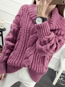 Ericdress Plain High Neck Chunky Knit Sweater