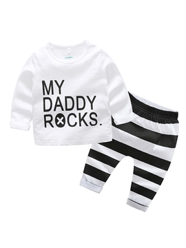 Ericdress Letter Print Stripe Baby Boy's 2-Pcs Outfit