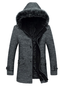Ericdress Faux Fur Collar Thicken Slim Men's Woolen Coat