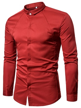Ericdress Plain Hidden Button Long Sleeve Men's Shirt