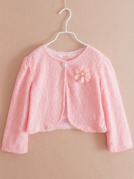 Ericdress Plain Lace Thick Girl's Short Cardigan