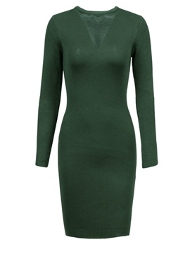 Ericdress V-Neck Plain Long Sleeve Bodycon Dress