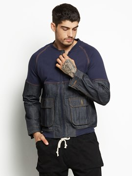 Ericdress Pocket Color Block Denim Men's Jacket