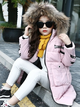 Ericdress Letter Print Zipper Thick Girl's Long Down Jacket