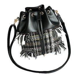 Ericdress Stylish Plaid Tassel String Crossbody Bag