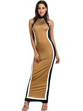 Ericdress Stand Collar Straight Color Block Maxi Dress