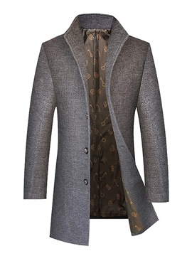 Ericdress Plain Mid-Length Men's Woolen Coat