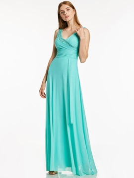 Ericdress A Line V Neck Beaded Pleats Chiffon Evening Dress