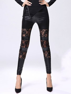 Ericdress Slim Lace PU Women's Leggings