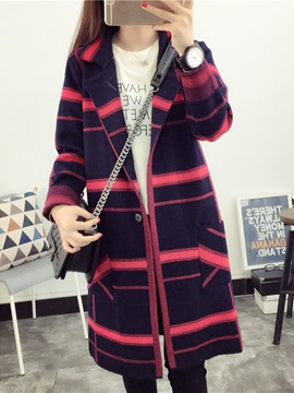 Ericdress Stripe Mid-Length Cardigan Sweater