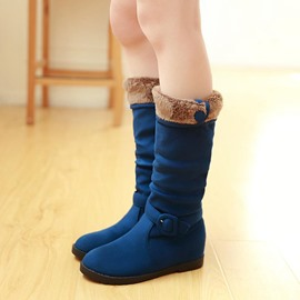 Ericdress Button Plain Slip-On Knee High Boots
