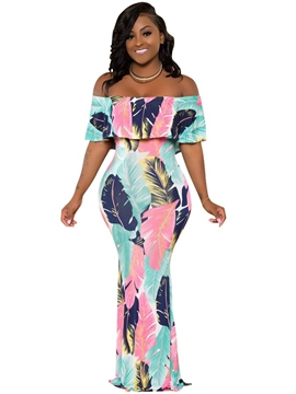 Ericdress Off-The-Shoulder Print Pullover Maxi Dress