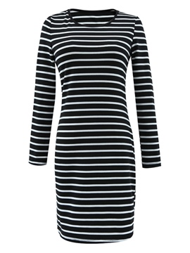 Ericdress Stripe Straight Long Sleeve Bodycon Dress