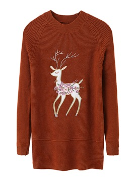 Ericdress Ugly Christmas Embroidery Animal Sweater
