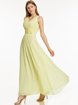 Ericdress V-Neck Lace-Up Flowers A-Line Long Evening Dress