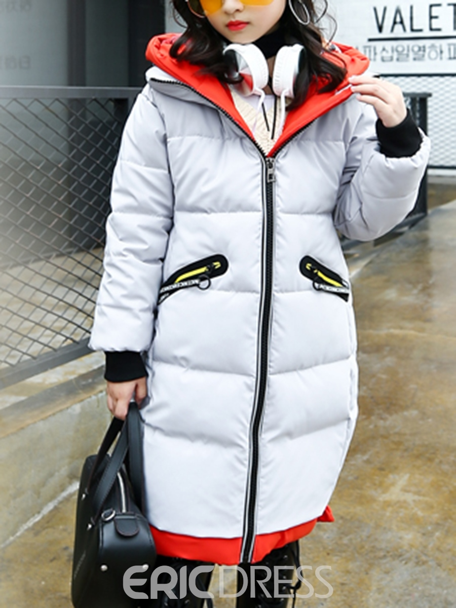 Ericdress Fashion Print Zipper Hooded Girls Down Jacket