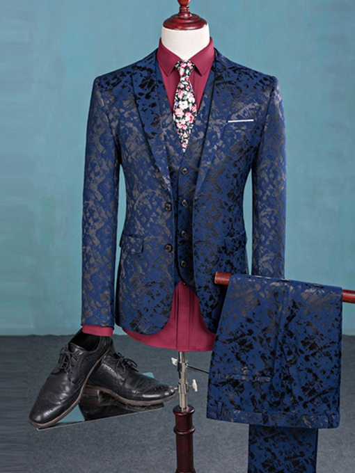 Ericdress Three-Piece Floral Print Men's Suit