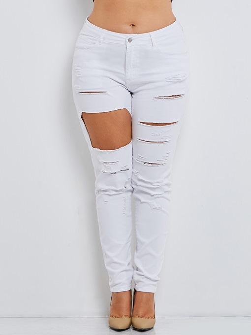 Ericdress Plus Size Skinny Plain Women's Ripped Jeans