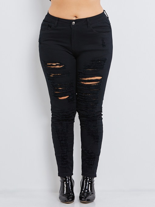 Ericdress Plus SizecDenim Hole Skinny Ripped Jeans