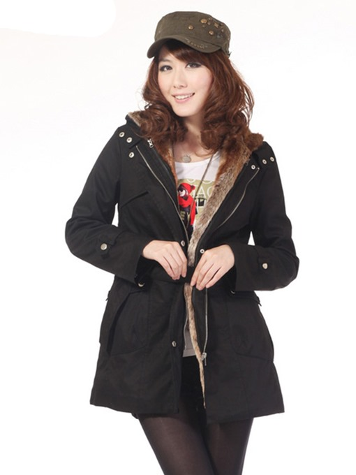 Ericdress Straight Mid-Length Cotton Padded Jacket