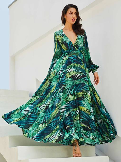 Ericdress V-Neck Plant Print Lace-Up Maxi Dress