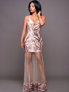 Ericdress Mermaid Mesh See-Througn Sequin Maxi Dress
