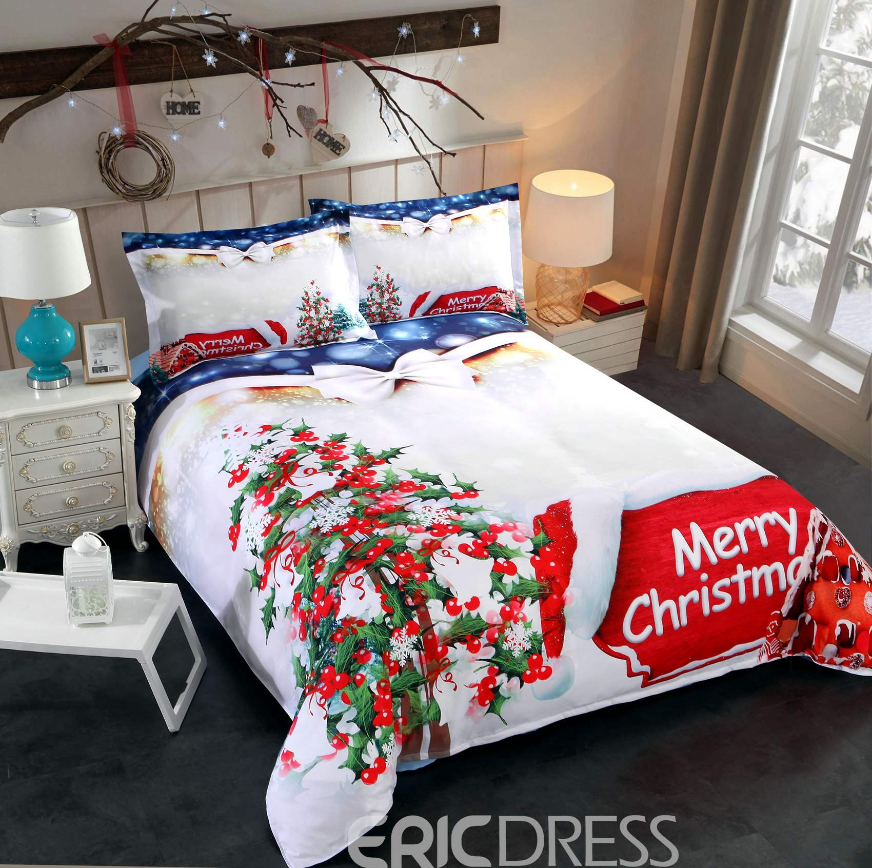 Vivilinen Christmas Tree and Cottage Printed Cotton 3D 4-Piece Bedding Sets/Duvet Covers