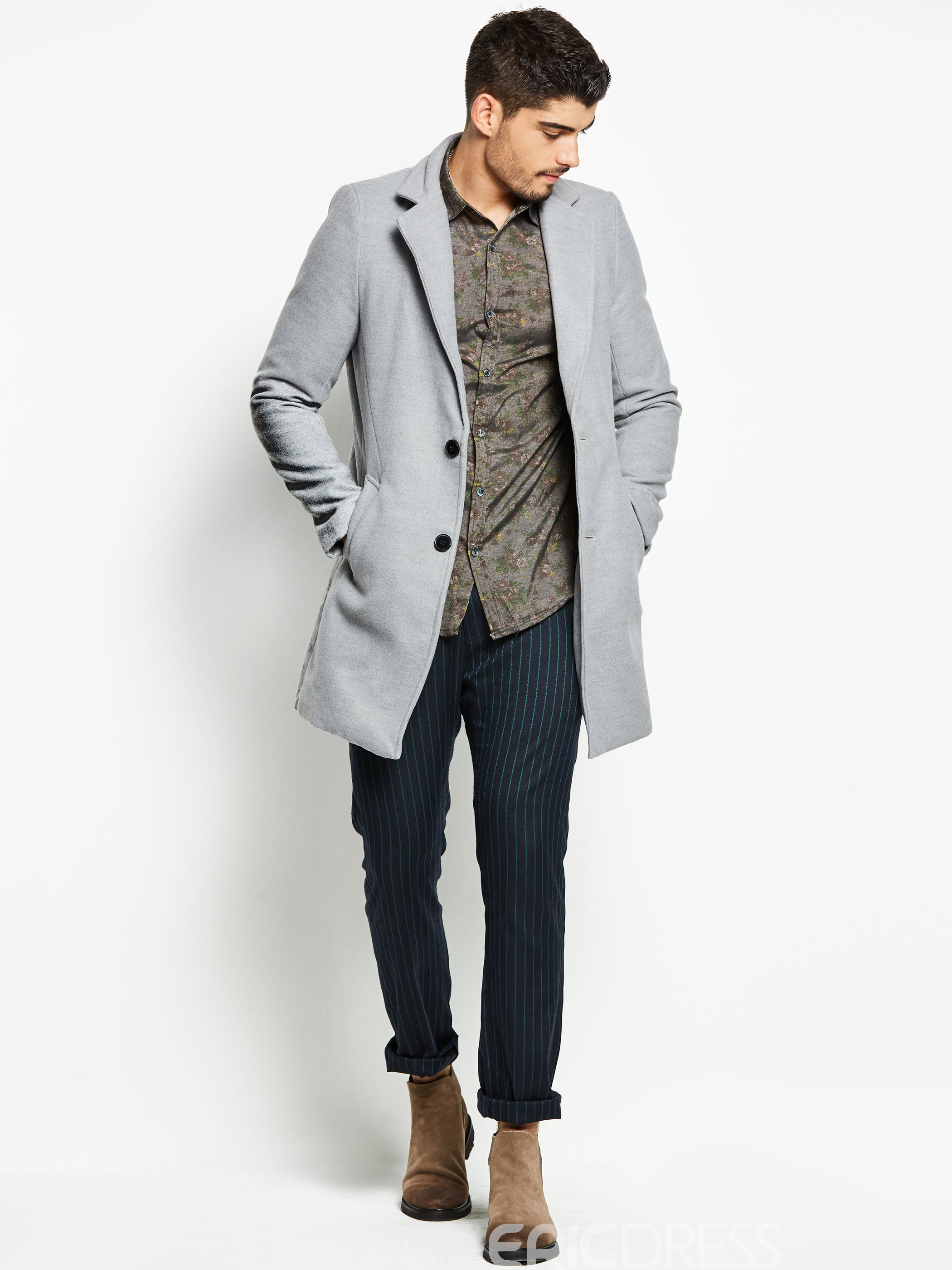 Ericdress Notched Lapel Solid Color Men's Trench Coat