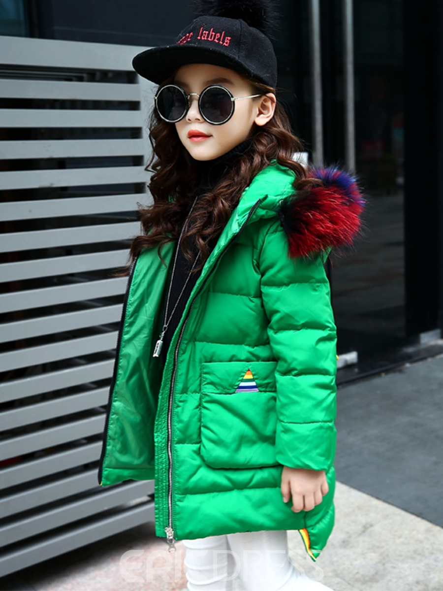 Ericdress Color Block Asymmetric Thick Girl's Down Jacket