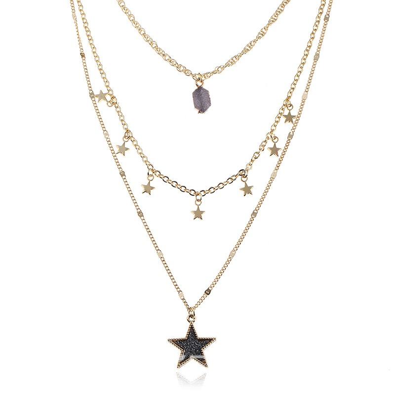 Ericdresss All Match Star Sequins Pendant Necklace for Women