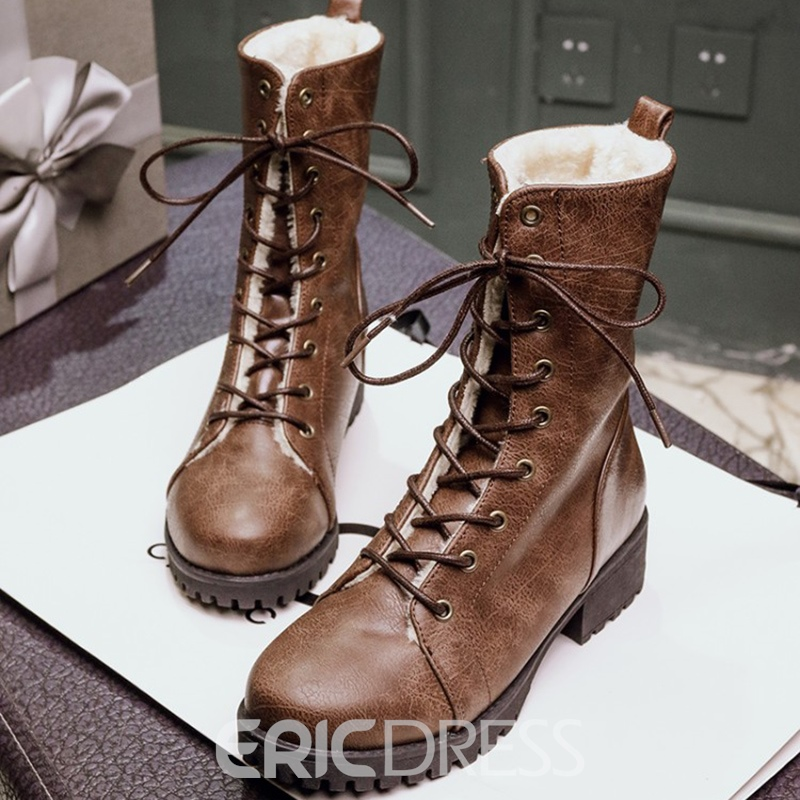 Ericdress All Match Lace-Up Women's Martin Boots