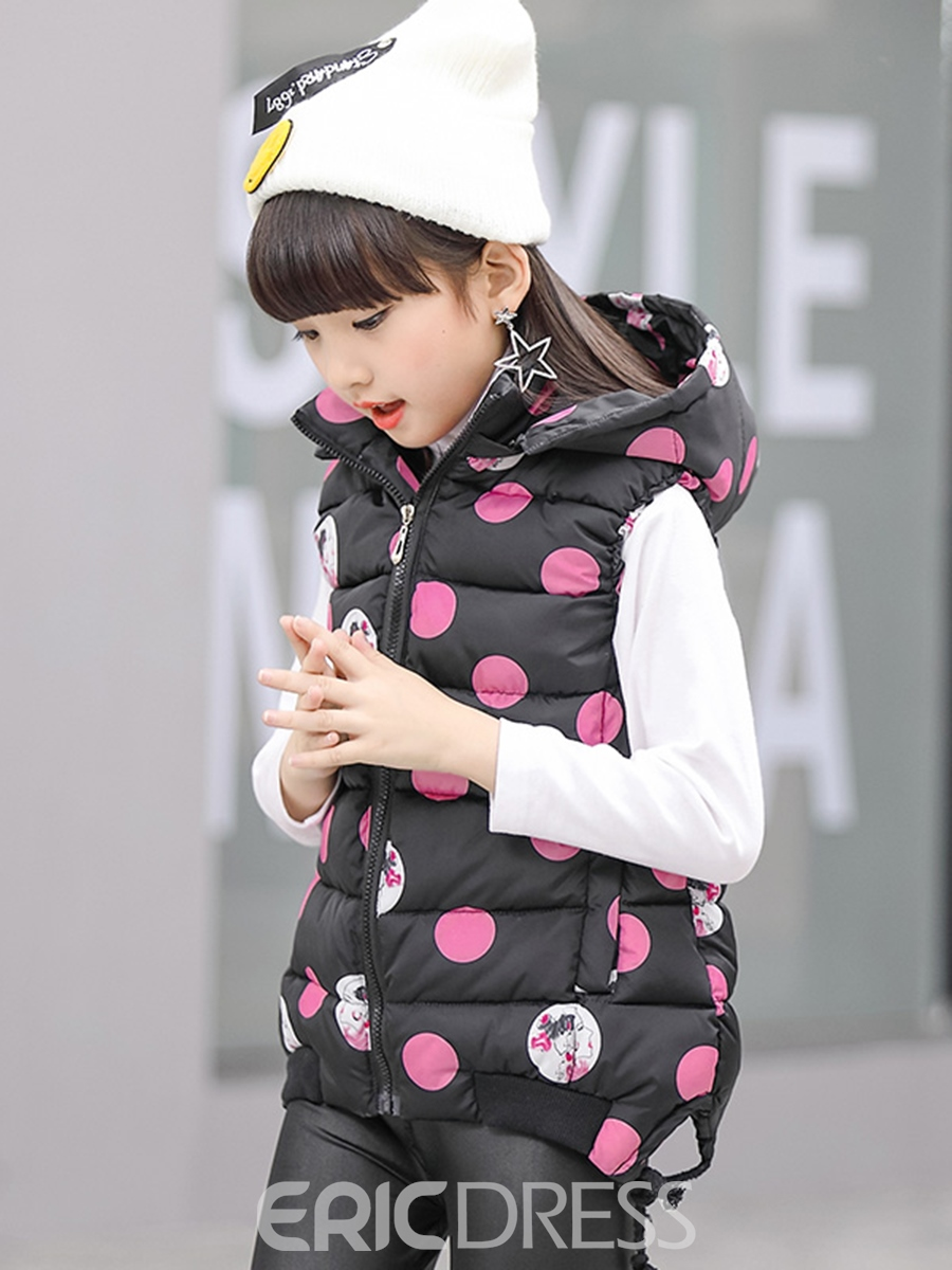 Ericdress Polka Dots Sleeveless Hooded Girl's coat