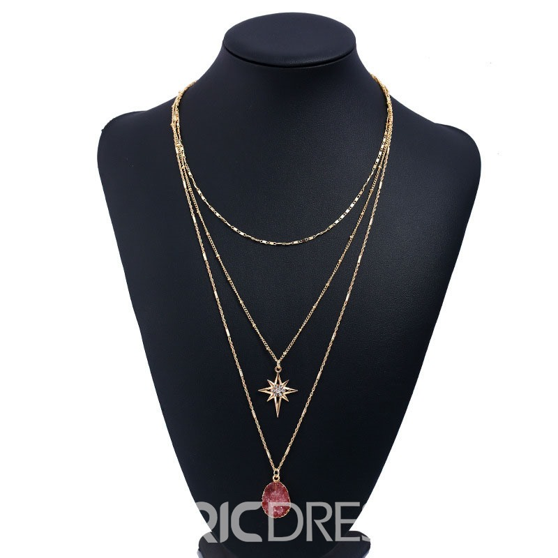 Ericdresss Charming Multilayer Diamante Pendant Necklace for Women