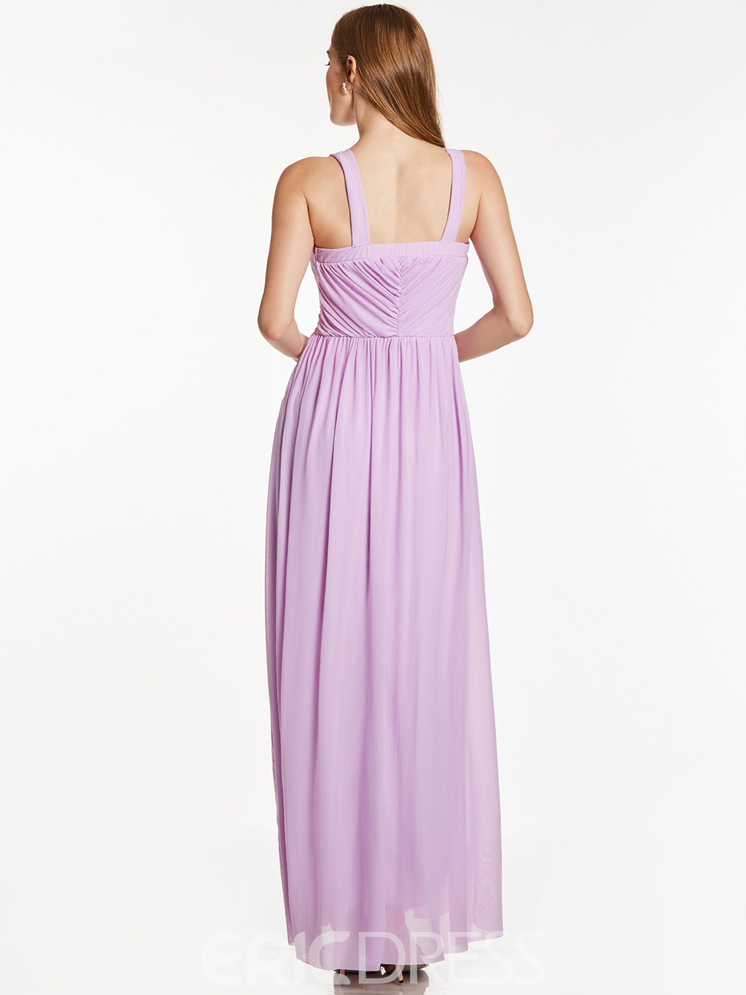 ERicdress Straps Sleeveless Pleats Beaded Ankle-Length Evening Dress
